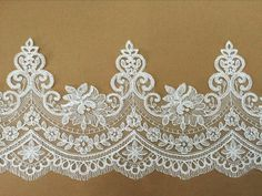 Width inches lace trim,flowers embroidered lace,floral lace trim for bridal veil,lace for DIY Embroidered Lace, Lace Applique, Diy Vestido, Lace Painting, Embroidery Motifs, Lace Border, Irish Lace, Lace Patterns, Diy Dress