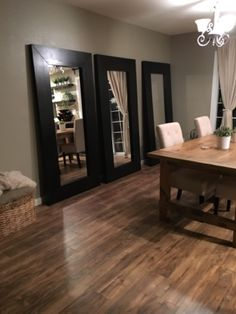Bunker Hill Remodel: 3 Mirrors in the Dining Room 3 Mirrors In Dining Room, Contemporary Dining Room Furniture, Tall Mirror, Bunker Hill, First Home, Kitchen Dining, New Homes, Room Decor, Small Dining