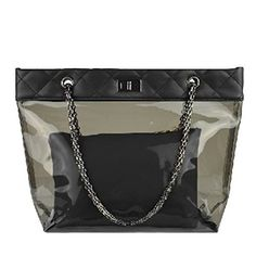 Donalworld Waterproof Tote Bag Chain Clear Beach Jelly Quilted Black Handbag * See this great product.Note:It is affiliate link to Amazon.