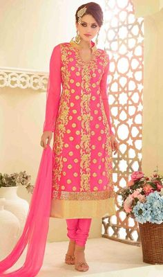 Look pretty wearing this pink color embroidered georgette and chiffon churidar suit. Look ravishing clad in this attire which is enhanced lace, resham and stones work. #lovelydresscollection #onlinechiffondress #fullsleevessuits