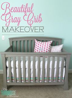 Beautiful Gray Crib Makeover with Annie Sloan Chalk Paint | TheTurquoiseHome.com  Allow(14 days, per Annie Sloan) I'd wait 4 weeks after wax application before baby uses it.   Hmmm...I have this crib:)