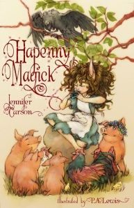 Hapenny Magick by Jennifer Carson:  Her book is also cute, despite the troll peril. I think 2nd through 4th grade would be about the right reading age for this story about a Hapenny girl named Maewyn who lives with a mean slob named Gelbane after her mother goes away on a journey. Soon Maewyn meets up with a talking pig and a wizard and discovers she has magical powers of her own. And she begins to wonder—is her village really safe from the Hapenny-eating trolls, after all? The magic on…