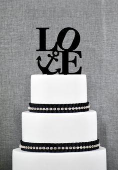 Nautical Philadelphia LOVE Wedding Cake Topper Modern Nautical Cake Topper Nautical Themed Wedding Destination Wedding Topper - (S284) by ChicagoFactory! Find it now at http://ift.tt/1SvGu7e!