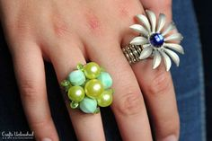 How to Make a Ring From Vintage Earrings- a great way to upcycle broken or single pieces. Full tutorial. Vintage Jewelry Crafts, Recycled Jewelry, Vintage Costume Jewelry, Old Jewelry, Jewelry Ideas, Jewelry Organization, Ring Crafts, Favorite Things, Diy Rings