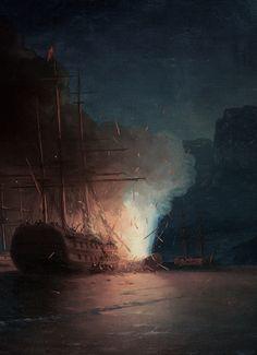 """ Ivan Aivazovsky, The Firing of the Turkish Fleet by Kanaris (detail), 1881 """