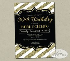 Modern gold glitter stripes and black make a bold statement. The wording on this printable invitation can be modified for a bridal shower, golden