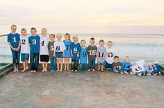 photos of grandkids- different color shirts for each family