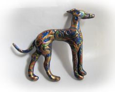 Greyhound Whippet Galgo Clay Sculpture by GreyhoundCleyhounds