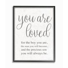 Stupell Industries 11 in. x 14 in. You Are Loved by Daphne Polselli Wood Framed Wall Art, Multi-Colored Stupell Industries 11 in. x 14 in. You Are Loved by Daphne Polselli Wood Framed Wall Art, Multi-Colored Boy Wall Art, Framed Wall Art, Wall Décor, Renz, Love Frames, Thing 1, Kids Wood, Kids And Parenting, Parenting Styles