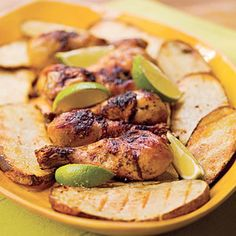 Grilled Beer Chicken with Potato Slabs is perfect for a tailgate or weekend dinner at home