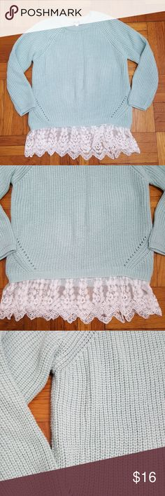 """Poor! Girl Seafoam Green/Blue Sweater - Large This is a size large kid's sweater withvlace detailing. Normal wear. No stains or tears. Color is closest to the 1st photo... A blend between seafoam green and blue. Approximately 18"""" long and 23"""" to tips of the lace.  Bundle & save. Poof! Shirts & Tops Sweaters"""
