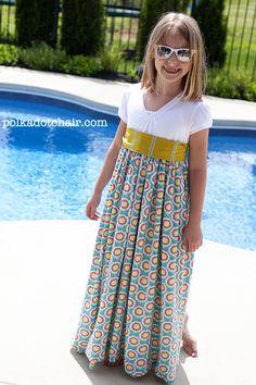 summer dresses, little girls, maxi dresses, polka dots, dress tutorials