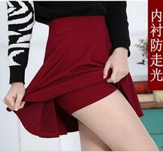 2015 Summer Women New Lined Anti Emptied Pleated Skirts High Waist Casual Solid Shorts Skirts Pleated Shorts, High Waisted Skirt, Curvy Fashion, Plus Size Fashion, Style Fashion, Tutu, Winter Rock, Mini Skater Skirt, Winter Skirt