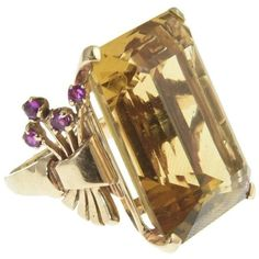 Preowned 1940s Retro Citrine & Ruby Rose Gold Ring ($3,000) ❤ liked on Polyvore featuring jewelry, rings, cocktail rings, red, ruby band ring, 14k rose gold ring, ruby ring, 14k ring and band rings