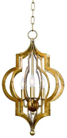 Подвесной светильник в золотой отделке. Силуэт напоминает фрагменты восточного орнамента. •Цоколь под лампы Е12. •Имеется модель большего размера, арт. 44-7365LRG.             Материал: Металл.              Бренд: Hampton Lighting.              Стили: Арт-деко, Восточные стили, Лофт.              Цвета: Желтый.