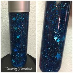 """Starry Night Sensory Bottle """"Keep your eyes on the stars, and your feet on the ground."""" – Theodore R Sensory Bottles Preschool, Glitter Sensory Bottles, Sensory Toys, Sensory Activities, Toddler Activities, Sensory Bottles For Toddlers, Glitter Jars, Autism Sensory, Baby Sensory Bottles"""