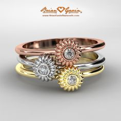 BGD Fiorella triple stack right hand rings in rose gold, white gold and yellow gold #jewelry