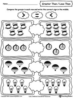 **FREE** Using Less Than/Greater Than Numbers Signs by Comparing Objects Worksheet. Learning the Less than, greater than and equal signs by counting and comparing the number of objects in each group. Kindergarten Math Worksheets, Teaching Math, Math Activities, Numbers Kindergarten, Math Numbers, Math Lesson Plans, Math Lessons, Math For Kids, Fun Math