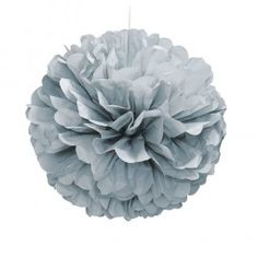 A single silver paper pom pom for mixing and matching. Each pom pom is 16 inches in diameter when assemble. These pom poms come flat packed, but can be constructed in a few minutes, you simply tie, pull out the leaves and fluff them. Buy your Silver Tissue Paper Ball, Paper Balls, Tissue Garland, Pom Pom Decorations, Paper Decorations, Hanging Pom Poms, Bachelorette Decorations, Happy Birthday, 50th Birthday