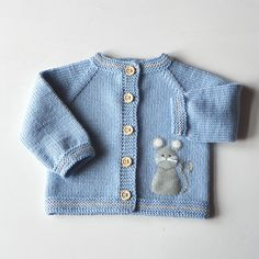 Blue baby sweater with mouse light blue merino jacket by Tuttolv