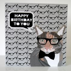 Geek Cat with Glasses Birthday Card by JayneyMac on Etsy, £2.00