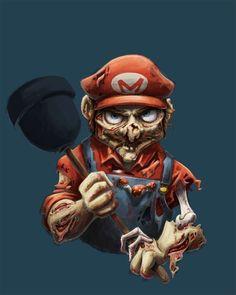 Retrato Zombie de Mario Bros. Artista Amanda Dockery.