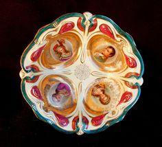 Beautiful Vintage Napoleonic German Porcelain Portrait Bowl ~ Embossed Gold Gilt #JlmenauPorcelainFactory