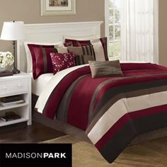 @Overstock - This Boulder Stripe comforter set from Madison Park is made from piecing together high-quality microsuede to create a super soft feel.  This 7-piece bedding set features shades of red, ivory and brown.http://www.overstock.com/Bedding-Bath/Madison-Park-Boulder-Stripe-7-piece-King-Cal-King-Comforter-Set/5480012/product.html?CID=214117 $129.55