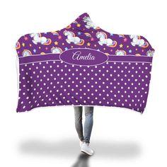 Purple Sleeping Unicorn Hooded Blanket – Designing on Wine Purple Unicorn, Little Unicorn, Hooded Blanket, Snuggles, Little Ones, Baby Car Seats, Blankets, Hoods, Polka Dots
