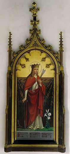 Gothic Revival frame circa 1840. GILT AND POLYCHROME, BY AUGUSTUS WELBY PUGIN, architect, smuggler, madman, genius. Designed for the de Lisle family at Grace Dieu, near Colville, Leicestershire.