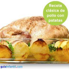Polo sado al horno con patatas...¿a que casi puedes olerlo? http://www.guiainfantil.com/recetas/carnes/pollo-y-gallina/pollo-asado-al-horno-recetas-tradicionales-para-ninos/