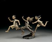 You're It (large)- A bronze sculpture by Mark Hopkins 11x24