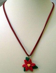Sale  Polymer Clay Poinsettia Necklace  Christmas by MyBuddyBling, $5.00