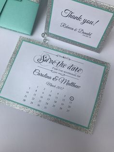 Save the date in turquoise and silver glitter - teal save the date - wedding save the date - save th Aqua Wedding, Tiffany Wedding, Bling Wedding, Wedding Matches, Dream Wedding, Wedding Invitation Packages, Wedding Invitations, Invites, Wedding Save The Dates