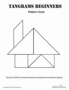 Kindergarten Shapes Patterns Worksheets: Easy Tangrams Puzzle #2