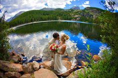 Wedding couple at Bear Lake in Estes Park