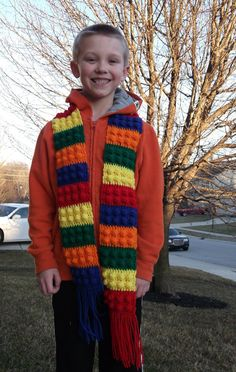 Lego Inspired Crochet Scarf by ScissorStyle on Etsy, $20.00