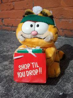 1981 Garfield Plush Shop Til You Drop Christmas Plush by Binzorama, $30.00