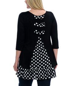 Another great find on #zulily! Black & White Polka Dot Split-Back Tunic - Plus #zulilyfinds