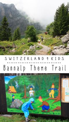 This theme trail has picture boards along the trail, telling the story of children searching for a magic crystal and the dwarfs who protected it. Each station is accompanied by something the kids can play with. South of Luzern Switzerland.