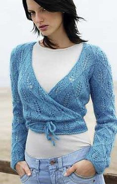 # 04 Wrap-Around Top pattern by Lana Grossa - # 04 Wrap-Around Top pattern by Lana Grossa Modell des Monats August 2005 Sweater Knitting Patterns, Cardigan Pattern, Crochet Cardigan, Knit Crochet, Wrap Pattern, Knit Wrap, Crochet Woman, Wrap Sweater, Crochet Clothes