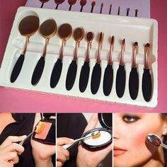 10Pcs Soft Gold Oval Tooth Makeup Brushes Set Powder Blush Concealer Brush -- BuyinCoins.com