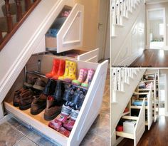 Under Stairs Storage Ideas For Small Spaces Making Your House Stand Out , The concept of under stair storage generally implies a custom made design and that usually means you have the freedom to determine precisely how you w. Garage Shoe Storage, Coat And Shoe Storage, Stair Storage, Hidden Storage, Shoe Storage Under Stairs, Stair Drawers, Stair Shelves, Purse Storage, Shoe Shelves