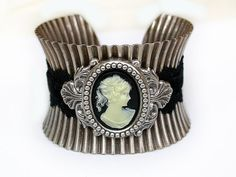 Black Cameo Silver Corset Pleated Cuff  Lace and by LeBoudoirNoir, $80.00