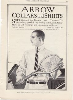 1912 Vintage Ad Arrow Collars and Shirt Man with Tennis Racket (Image1)