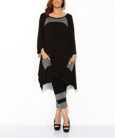Look what I found on #zulily! Black Embellished Pocket Sidetail Dress - Women & Plus by Hüseyin KÜÇÜK #zulilyfinds