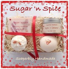 Christmas Gift Hamper, Apple and Cinnamon fragrance, containing novelty soap, bath bomb, candle, and bath truffle, handmade with love by SoaperblyHandmade on Etsy