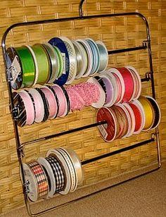 Multiple Pants Hanger as Ribbon Storage., Multiple Pants Hanger as Ribbon Storage…Genius! Ribbon Organization, Ribbon Storage, Scrapbook Organization, Craft Organization, Organizing Tips, Ribbon Holders, Ribbon Box, Rustic Crafts, Craft Room Storage