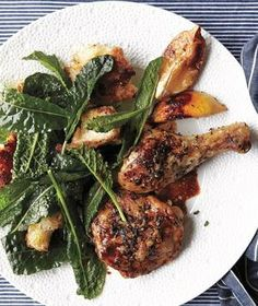 Herb-Crusted Chicken With Kale and Pan-Dripping Croutons recipe from realsimple.com #myplate #protein #vegetables