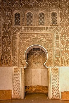 Mihrab in little mosque, Koranic School of Medersa Ben Youssef, dating from 1570, UNESCO World Heritage Site, Marrakech, Morroco, North Africa, Africa